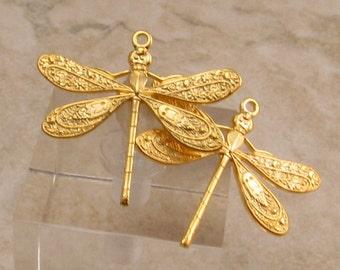 Ornate Dragonfly Charm, Matte Gold, 2 Pc. AG237