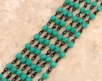 Czech Rosary Chain, 4 MM Fire Polished, Green Turquoise Beads, Black Link, 1 Foot, C369