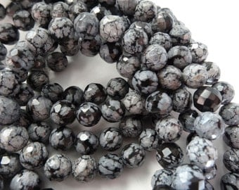 15 1/2 inch Strand Natural Faceted Snowflake Obsidian 8mm Round Stone Beads A12