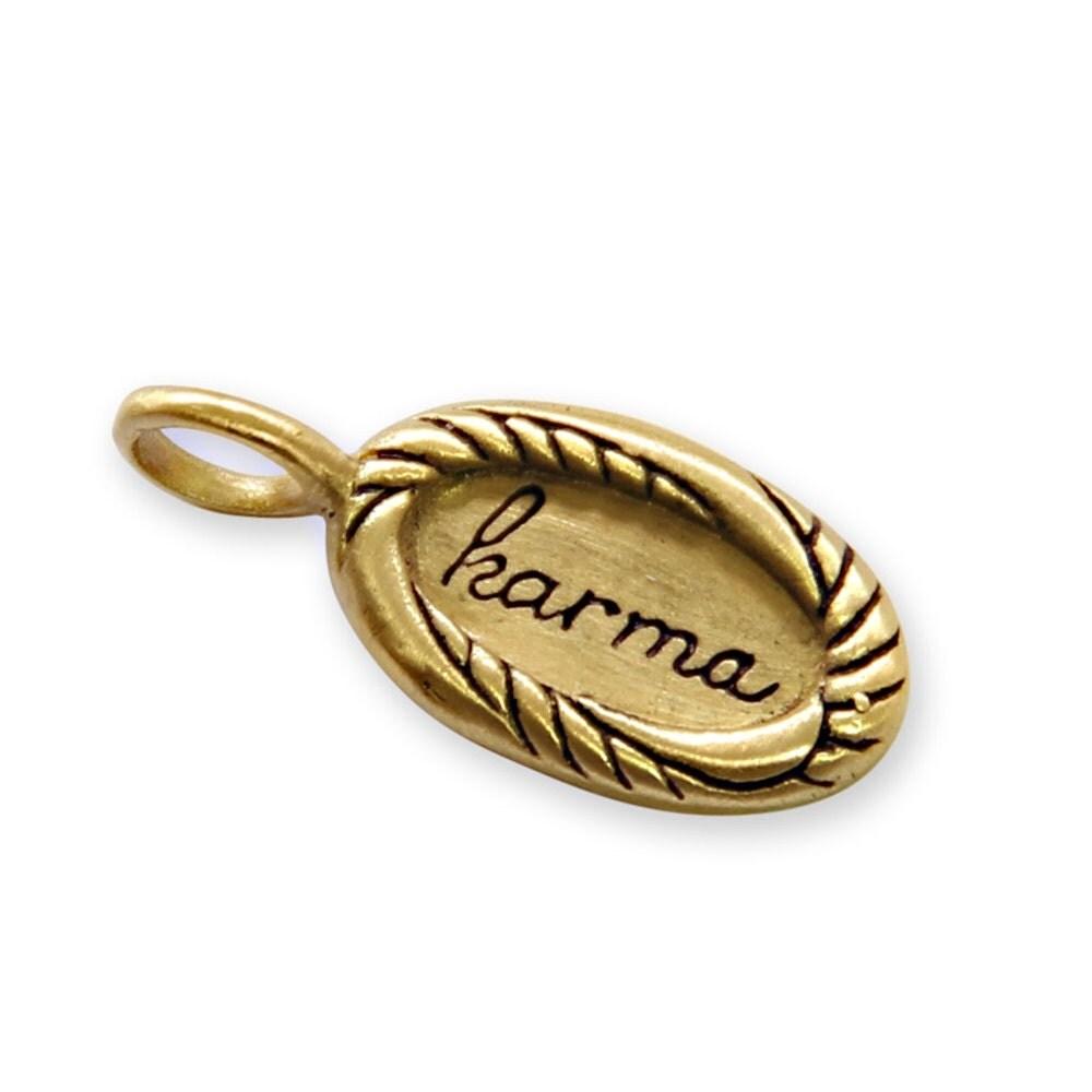 karma charm tiny gold karma pendant engraved charm message