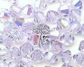 Clearance 100 pcs Swarovski Crystal 5301/5328 4mm Crystal Violet AB Bicone Beads Wholesale
