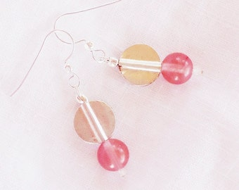 SALE, Pink Cherry Quartz & Thai Silver Earrings