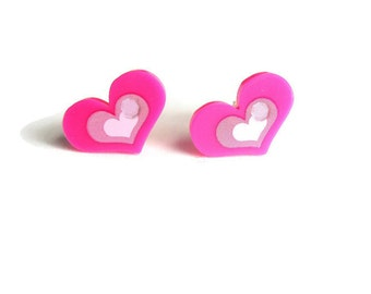 Pink Heart Stud Earrings, Hot Pink Studs