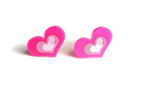Pink Heart Stud Earrings, Acrylic Heart Studs, Hot Pink Heart Earrings