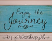 Inspirational Wood Sign Enjoy the Journey Primitive Distressed Wall Decor Plaque Aqua Blue Teal