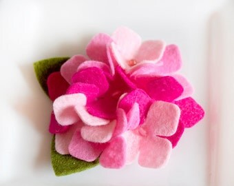 Wool Felt Flower Hydrangea in pinks with bead center Set of Two