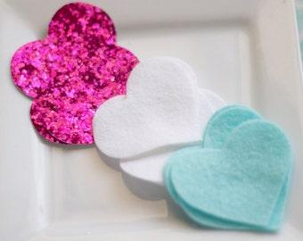 Wool Felt Hearts Wool Felt Hairbow Medium Hot Pink Glitter Hearts 2 inch Aqua White