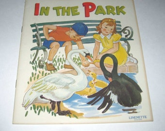 In the Park Picture Book Vintage 1940s Children's Linenette Book with Fabulous Illustrations by Sam'l Gabriel Sons and Co.