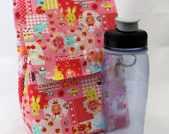 Insulated Lunch Bag Kawaii Bunny Patchwork Made to Order