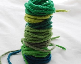 100% Wool Felt Cord - 7 Cords - Assorted Green Colors