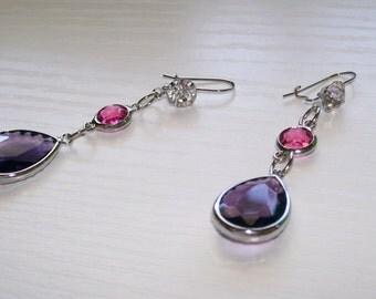 Pink and Purple Wedding Earrings