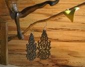 Black Chandelier Earrings, Wood Earrings, Lightweight Dangle Earrings, Laser Cut, Bright and Beautiful Kidney Ear Wire Nickel Free