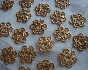 Small Round Flower Filigree, Unplated Brass Stampings, Charms, Drops or Connectors Jewelry Findings, Clearance Special! 35 pcs. (Ccart)