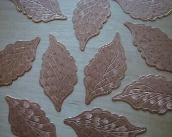 3 Copper Tone Flat Etched Leaf Ccart