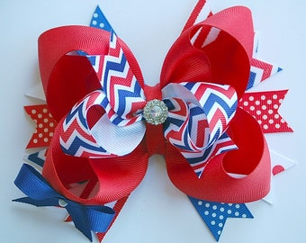GLAM over the top layered PATRIOTIC CHEVRON hair bow clip