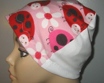 FREE SHIP USA Ladybugs  Flannel Sleep Cap,Kids and Adults  Chemo Hat, Cancer Cap, Alopecia