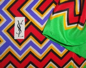 Vintage YSL logo 34 by 35 inch silk square scarf, Green, Red, Gold, Purple, Black and Cream Zig Zag border, Bonus brooch, 1970s