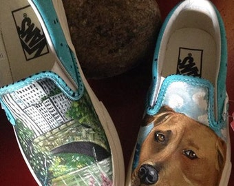 Custom women's or men's Slip on Vans sneakers hand painted with YOUR pets portrait dog portrait any pet