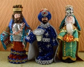 The Three Wise Men Miniature Magi Christmas Holiday Art Doll Set One of a Kind