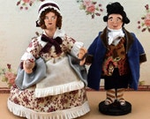 Mr. and Mrs. Fezziwig A Christmas Carol Dickens Art Doll Miniatures