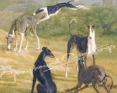 """Greyhound Dog Tile Art Piece """"Five Dogs"""" - Stand or Hang 4-1/4"""" Square"""
