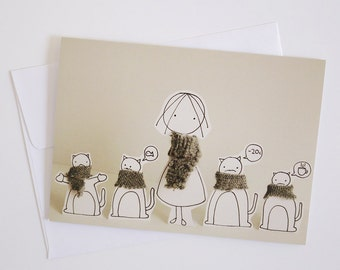 Baby it is cold outside - Greeting Card - Paper diorama
