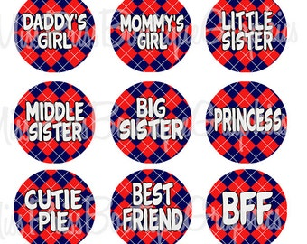 4x6 - PLAID SAYINGS - Instant Download - Adorable Girly Sayings - One Inch Bottlecap Digital Graphic Image Sheets - No. 960