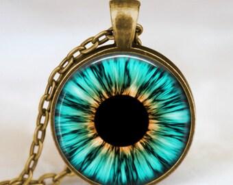 Evil eye jewelry, third eye necklace, aqua blue eye pendant , human iris eye jewelry antique bronze with gift bag