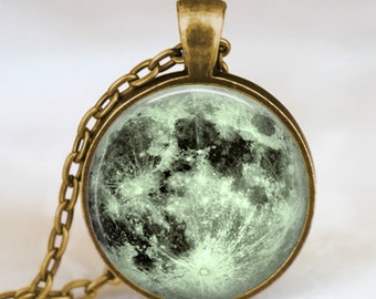 Mint green moon necklace, full moon necklace, moon pendant, lunar pendant, moon jewelry , space pendant