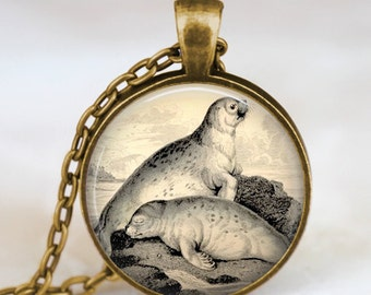 Vintage sea lion , seal necklace , sea lion Jewelry,  sea lion pendant , seal  charm, aquarium beach jewelry, handmade jewelry