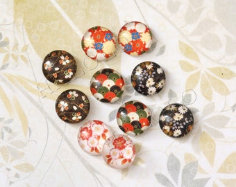 10pcs assorted Japanese flower pattern round glass dome cabochons / Wooden earring stud  12mm (12-9550)