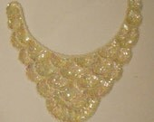 Vintage Iridescent  Sequin Beads Simulated Pearls Collar Applique