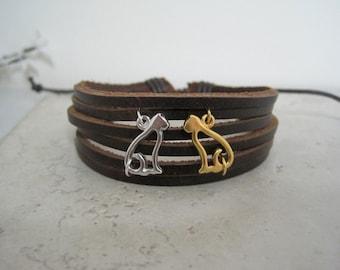 Cute Cats Leather Cuff Wrap Bracelet