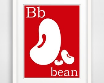 Children's Wall Art / Nursery Decor B is for Bean print by Finny and Zook