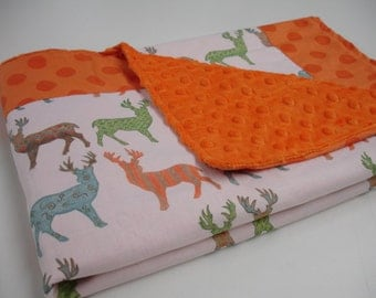Meadow Deer and Polkas Minky Baby Blanket You Choose Size MADE TO ORDER No Batting