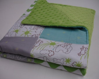 Elephants You Are My Sunshine in Green With  Bits of Sunshine in Aqua and Grey Minky Comfortet  Blanket  MADE TO ORDER