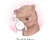 Unique Wedding Gift for Couple Bear & Bunny Illustration Custom Art Printable Digital File Woodland Wedding DIY Home Wall Decor Pastel Pink