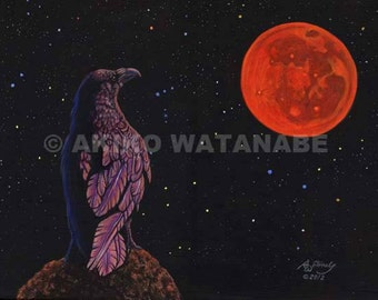Akiko ORIGINAL 12x16 Painting Crow Raven Red Moon Eclipse - direct from artist