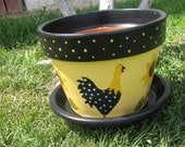 Chicken and Sunflower Flower pot