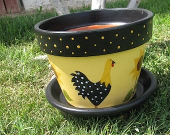 Chicken and Sunflower Flower pot