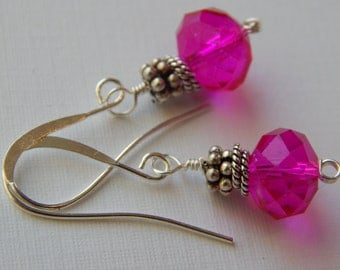 Fushia Quartz Silver Findings, Wire Wrapped, Silverplated Ear Wires