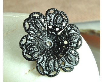 Flower Petal Filigree black oxidized finding 24mm dapped center