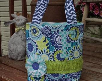 CUTE LIL' BAGS  for cute lil' girls  medium tote bag in fun royal blue / aqua /  green  mixed prints