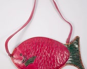 25% OFF SALE - S A L E Painted Leather Fish Bag