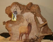 Antler cap and key holder with hand painted elk