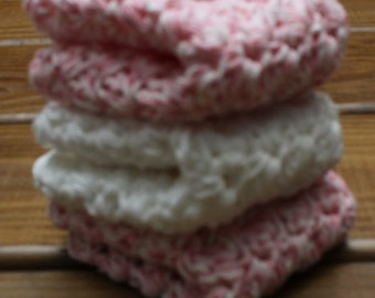 Softly in Pink Cotton Crochet Wash Cloths - Set of 3