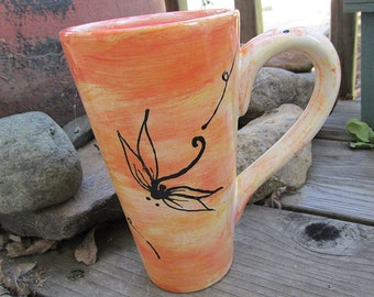 Dragonfly pottery mug 16 ounce custom pottery mug choose your colors dragonflies swirls tall mug rustic home coffee tea mugs big mugs