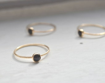 Black and Gold Stacking Ring - Onyx