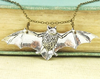 Bat Necklace. Antiqued Pewterand Antiqued Bronze chain Necklace Pendant.