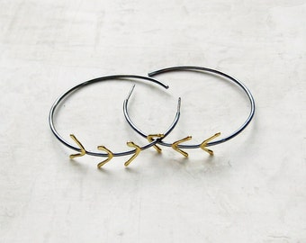 Twig Hoops - Large Black Silver and 18k Gold